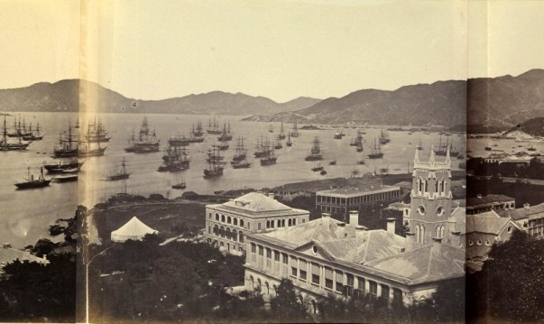 L0069395 Hong Kong: panoramic view. Credit: Wellcome Library, London. Wellcome Images images@wellcome.ac.uk http://wellcomeimages.org Hong Kong: panoramic view. Photograph by Felice Beato, 1860. 1860 By: Felice BeatoPublished: - Copyrighted work available under Creative Commons Attribution only licence CC BY 4.0 http://creativecommons.org/licenses/by/4.0/