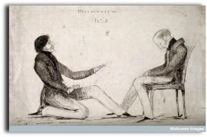 V0011095 A practioner of mesmerism performing animal magnetism therap Credit: Wellcome Library, London. Wellcome Images images@wellcome.ac.uk http://wellcomeimages.org A practioner of mesmerism performing animal magnetism therapy on a seated male patient. Pen and ink drawing. Published: - Copyrighted work available under Creative Commons Attribution only licence CC BY 4.0 http://creativecommons.org/licenses/by/4.0/