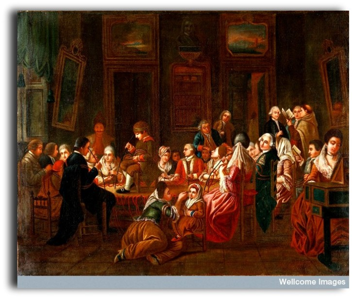 V0017306 Mesmeric therapy. Credit: Wellcome Library, London. Wellcome Images images@wellcome.ac.uk http://wellcomeimages.org Mesmeric therapy. A group of mesmerised French patients Oil 1778/1784 after: Claude-Louis DesraisPublished: [between 1778 and 1784?] Copyrighted work available under Creative Commons Attribution only licence CC BY 4.0 http://creativecommons.org/licenses/by/4.0/