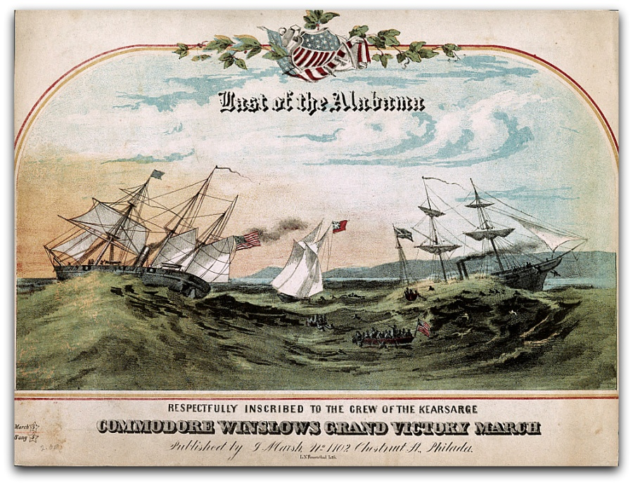Last of the Alabama Commodore Winslows grand victory march. L.N. Rosenthal chromolithograph